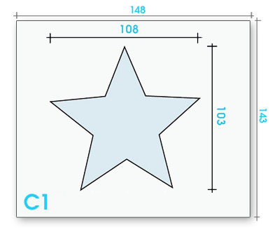 Card badge S1 dimensions and cut-out shape