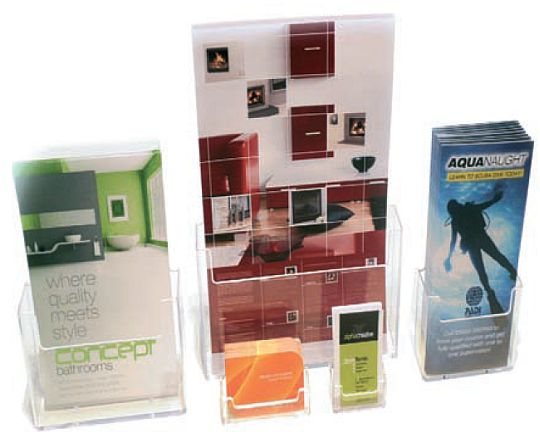 Acrylic leaflet dispensers for counter-top use