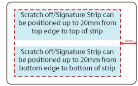 Diagram showing areas where scratch-off strips and data can be applied