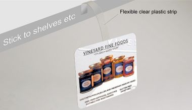 Shelf-edge point of sale wobbler attached to shelf